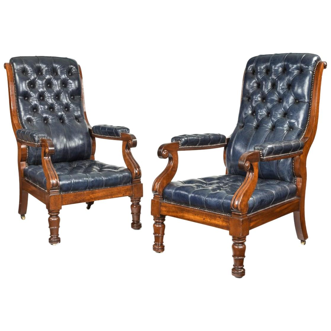 Pair of William IV Mahogany and Leather Upholstered Armchairs