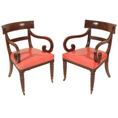 Pair of William IV Mahogany Armchairs