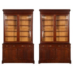 Pair of William IV Mahogany Glass-Front Bookcases of Large Scale
