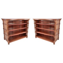 Pair of William IV Mahogany Open Two-Sided Bookcases
