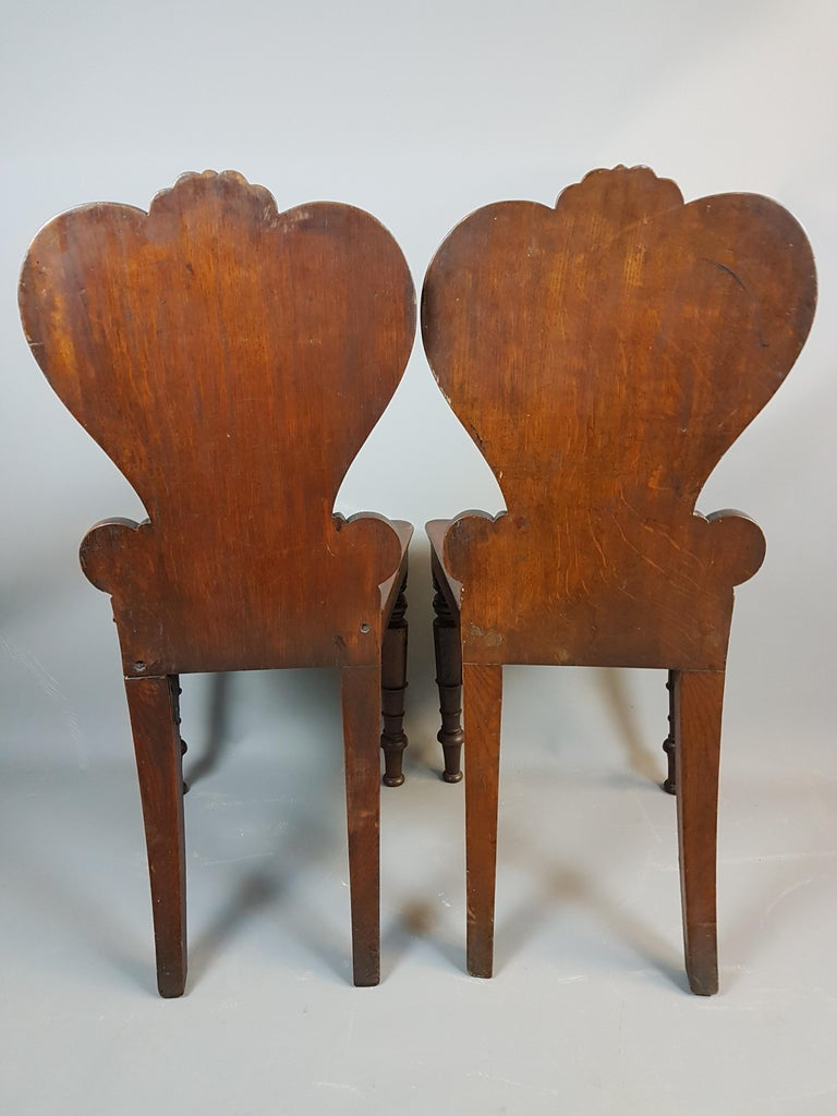 Carved Pair of William IV Oak Hall Chairs For Sale