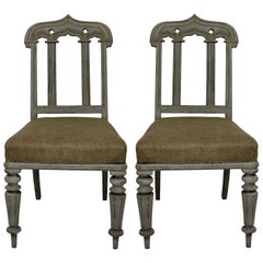 Pair of William IV Painted Gothic Revival Chairs