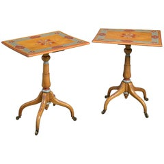 Pair of William IV Painted Satinwood Tripod Tables