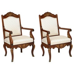 Pair of William iv Rosewood and Brass-Inlaid Armchairs