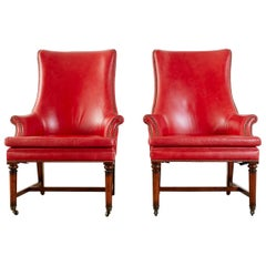 Pair of William IV Style Leather Mahogany Library Wingback Chairs
