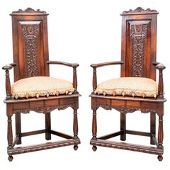 Pair of William M. Ballard Co. Walnut Hall Chairs, Late 19th-Early 20th Century