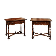 Pair of William & Mary Style Oyster Veneer Walnut Side Table