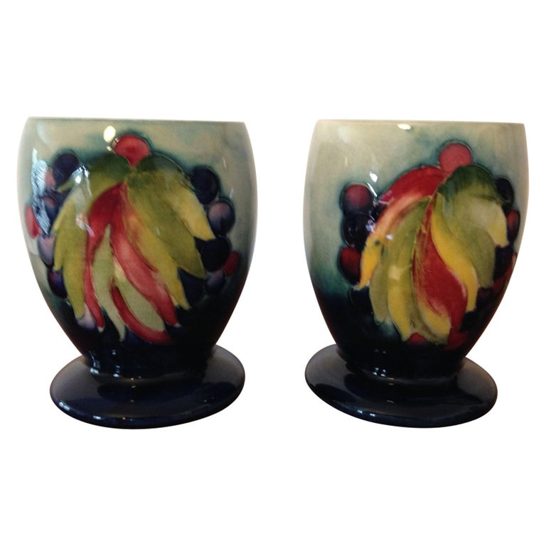 Pair of William Moorcroft Leaf and Berry Pattern Goblets, circa 1930 For Sale