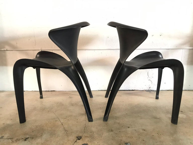 "Organic Modern Pair of William Sawaya ""Calla"" Chairs in Matte Black for Heller, 2002 For Sale"