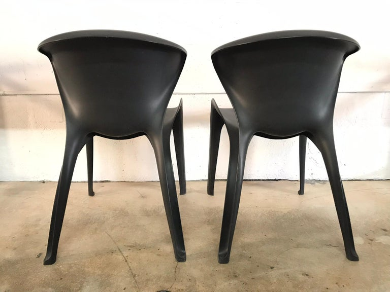 "Italian Pair of William Sawaya ""Calla"" Chairs in Matte Black for Heller, 2002 For Sale"
