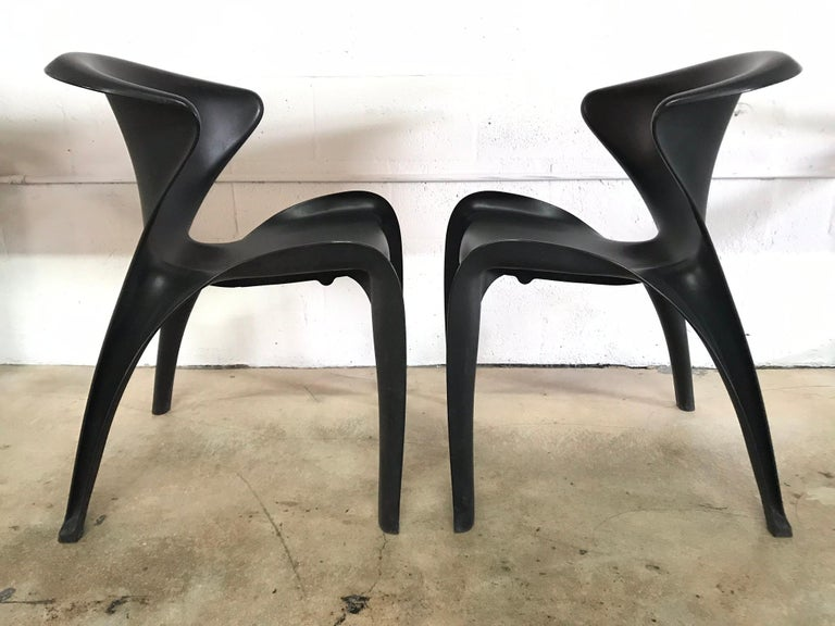"Molded Pair of William Sawaya ""Calla"" Chairs in Matte Black for Heller, 2002 For Sale"