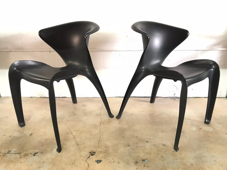 "Contemporary Pair of William Sawaya ""Calla"" Chairs in Matte Black for Heller, 2002 For Sale"