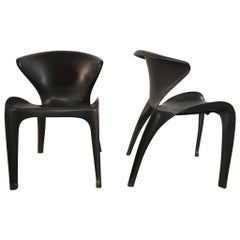 "Pair of William Sawaya ""Calla"" Chairs in Matte Black for Heller, 2002"