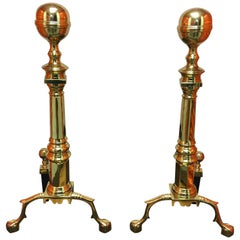 Pair of Williamsburg Style Polished Brass Andirons, 19th Century