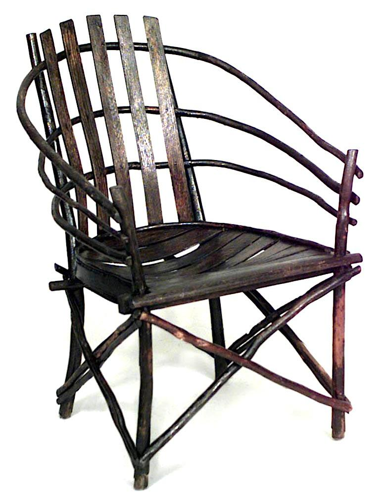American Pair of Willow Barrel-Back Adirondack Armchairs For Sale