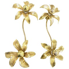 Pair of Willy Daro Two-Flower Wall Light, Massive Lighting, Germany, 1970s