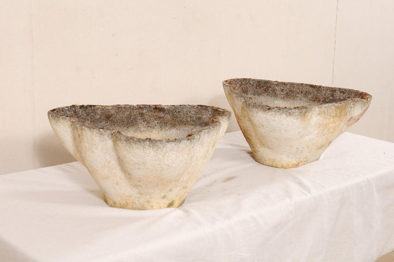Cement Pair of Willy Guhl Eternite Garden Planters For Sale