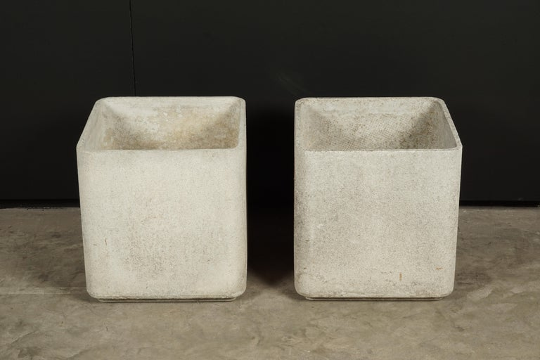 Pair of Willy Guhl planters from France, circa 1960. Nice patina. Stamped inside.