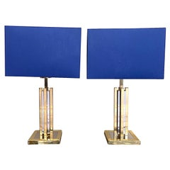 Pair of Willy Rizzo 1970s Chrome and Brass Style Lamps by S A Boulanger