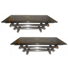 Pair of Willy Rizzo Style Coffee Tables