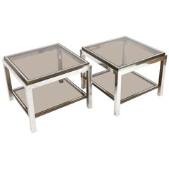 Pair of Willy Rizzo Vintage Side Tables in Brass and Chrome, Italy, 1970s