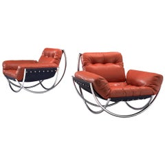 Pair of 'Wilo' Lounge Chairs in Red Leather by Lennart Bender