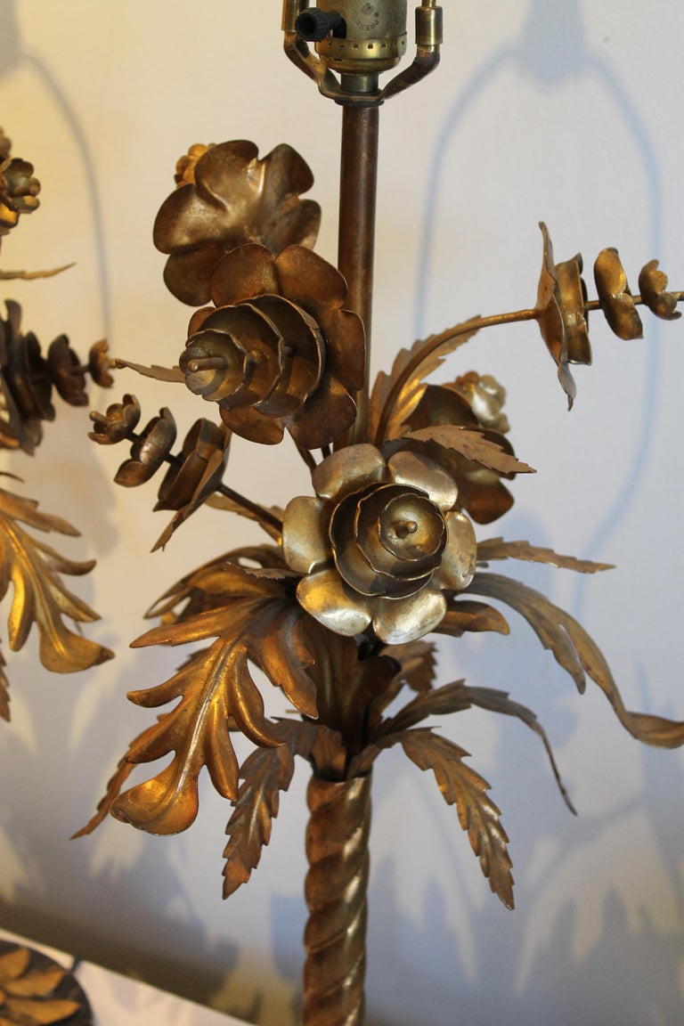 Mid-20th Century Pair of Wilshire House Italian Foliate Lamps For Sale