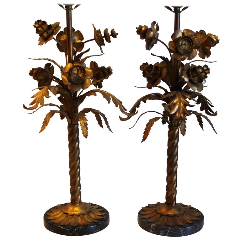 Pair of Wilshire House Italian Foliate Lamps For Sale