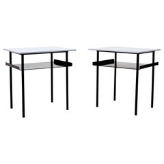 Pair of Wim Rietveld Style Industrial Side Tables by Auping