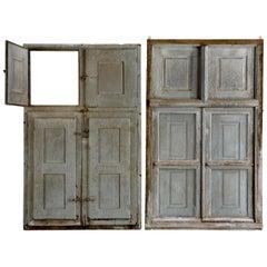 Pair of Windows, 17th Century Flemish Baroque, Original Shutters & Ironwork