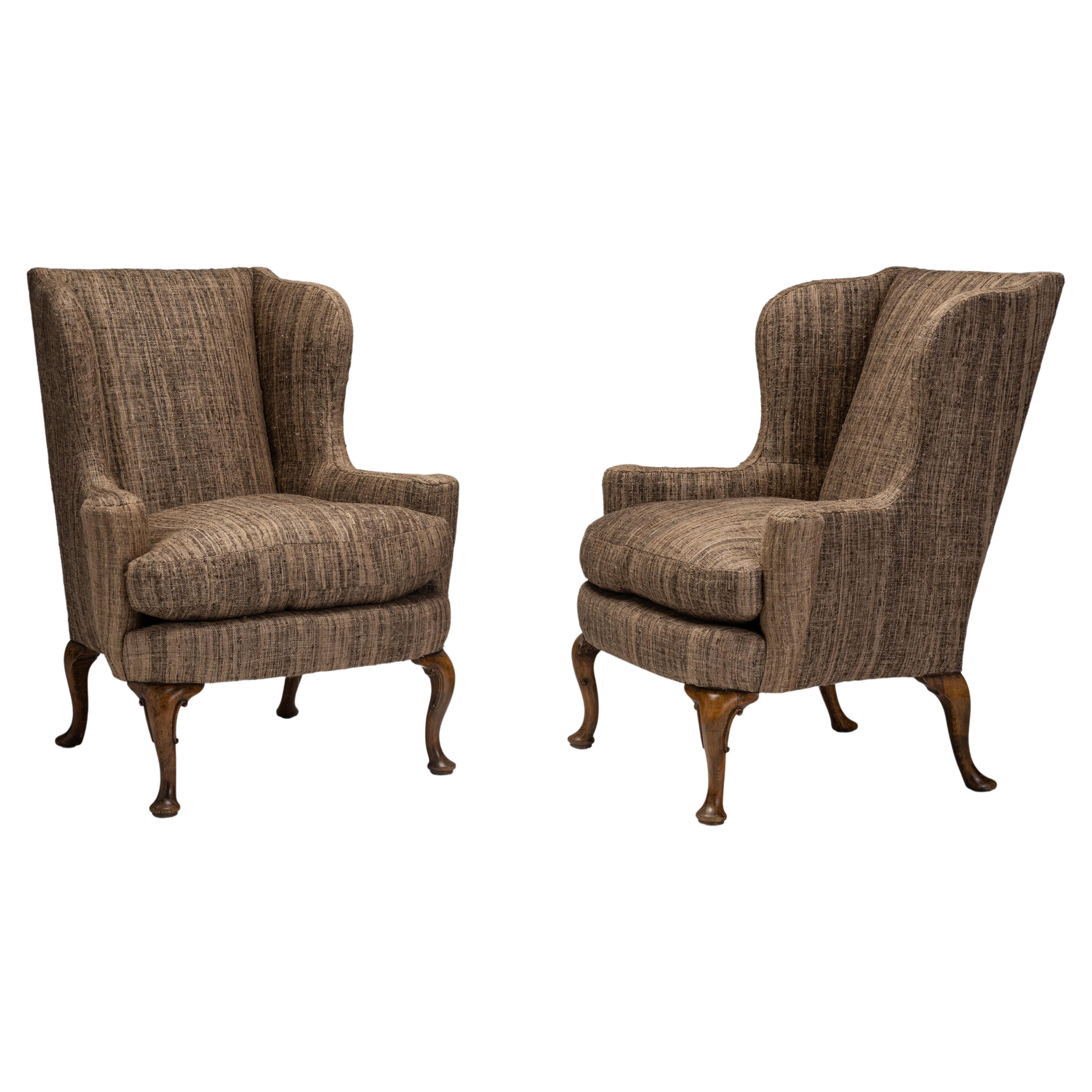 Pair of Wing Armchairs, England, Circa 1930