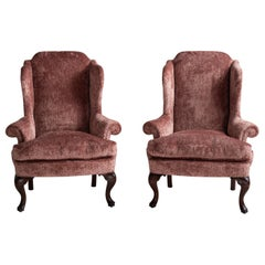Pair of Wing Armchairs in Chenille Velvet by Fadini Borghi