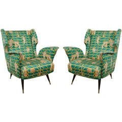 Pair of Wing Back Chairs in the Manner of Gio Ponti