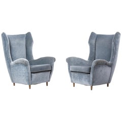 Pair of Wing Back Lounge Chairs in blueish Velvet, Italy, 1950s