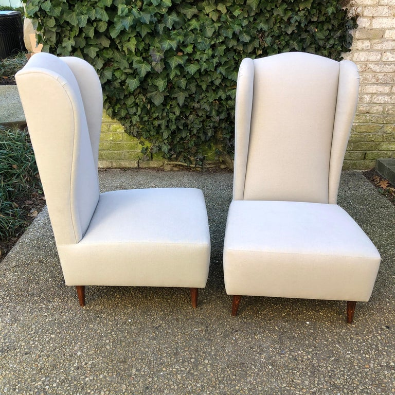 Pair of Wing Back Slipper Chairs In Good Condition For Sale In East Hampton, NY