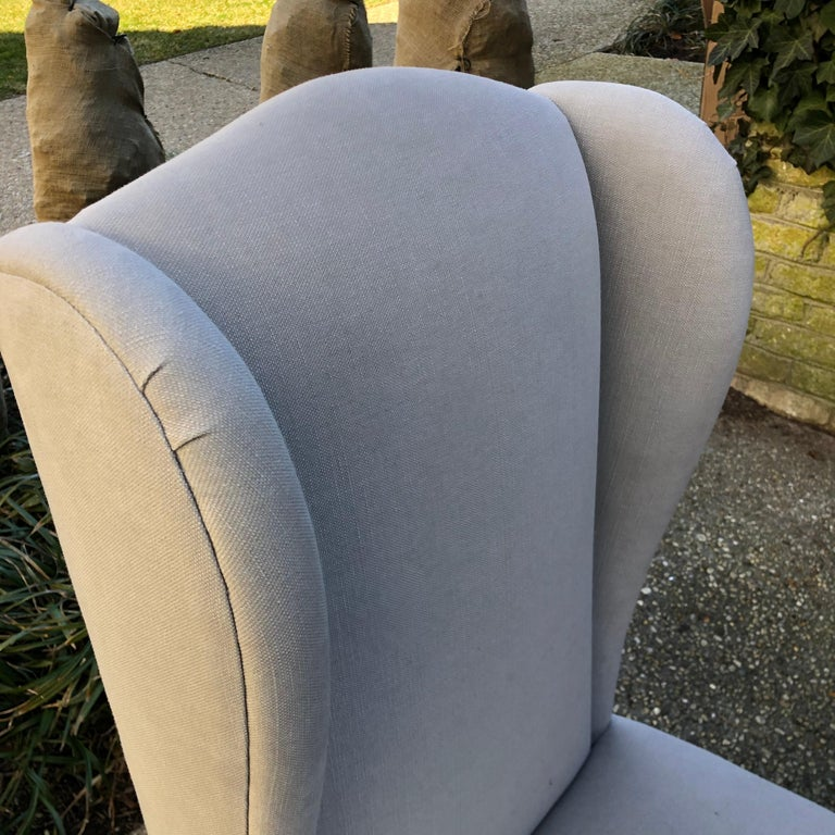 Linen Pair of Wing Back Slipper Chairs For Sale