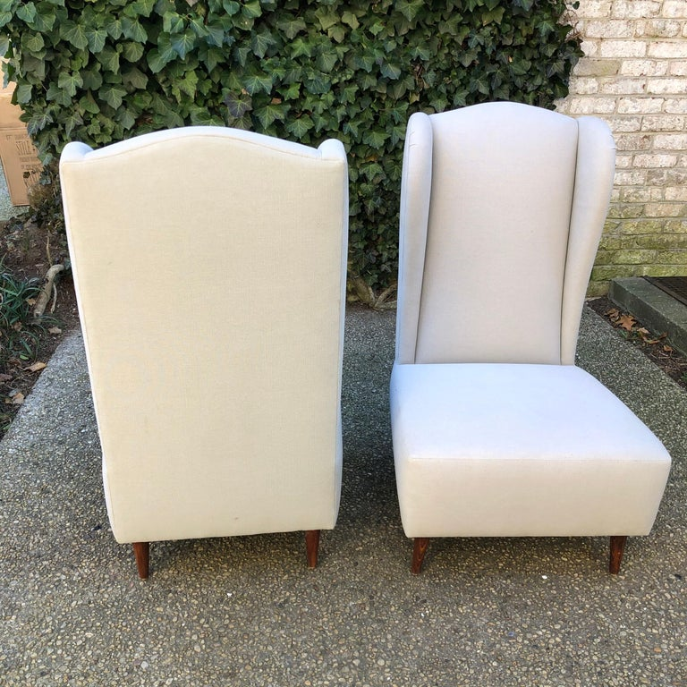 Pair of Wing Back Slipper Chairs For Sale 3