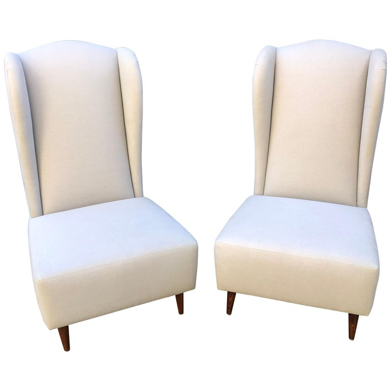 Pair of Wing Back Slipper Chairs For Sale