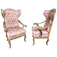 Pair of Wing Chairs, Baroque Style