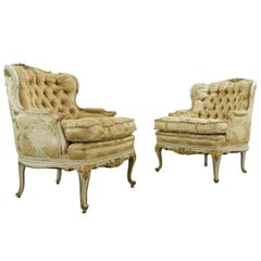 Pair of Wingback Armchairs Finely Carved in Baroque-Chippendale Style