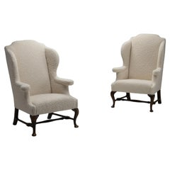 Pair of Wingback Armchairs in Pierre Frey Wool / Mohair / Alpaca Boucle