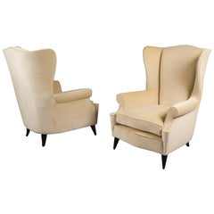 Pair of Wingback Armchairs, Italy, 1950s