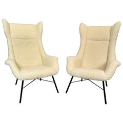 Pair of Wingback Armchairs, Miroslav Navratil, 1960s