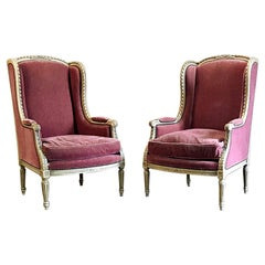 Pair of Wingback Bergères, Antique French Louis XVI Painted