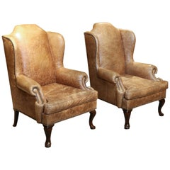 Pair of Wingback Chairs, George II Style and Mahogany