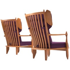 Pair of Wingback Chairs in Solid Oak by Guillerme et Chambron
