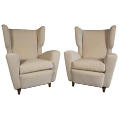 Pair of Wingback Chairs, Italy, 1950s