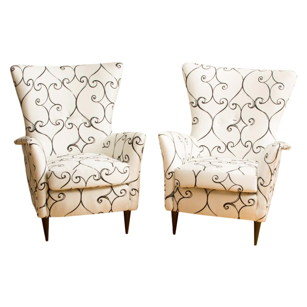 Pair of Wingback Italian Chairs Attributed to Paolo Buffa, circa 1950