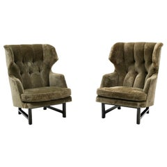 Pair of Wingback Lounge Chairs by Edward Wormley for Dunbar, Janus Collection