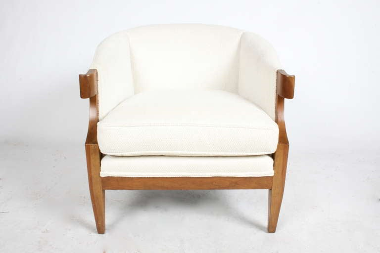 Baker Furniture's 1954 Continental collection, by Winsor White & William Millington. Pair of curved arm occasional chairs to be refinished and reupholstered with COM. Measurements are 28 width x 28 height x 28.5 deep. 17.5 seat. Photos of chairs